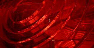 Le Phare du Cap-Ferret, l'exposition Horizons voyageurs, espace histoire de Phares, détail de la lanterne rouge