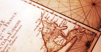 Le Phare du Cap-Ferret, l'exposition Horizons voyageurs, espace salle des cartes, détail d'une carte ancienne